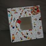 Miroir mosaïque blanc